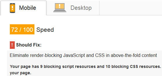 Render blocking CSS and JavaScript resources