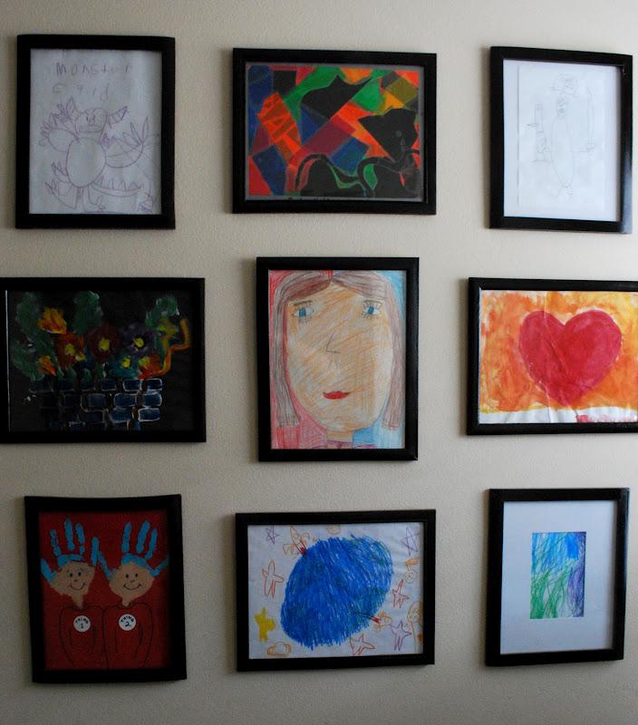 The shabby nest great idea kids 39 art gallery wall for Kids wall art