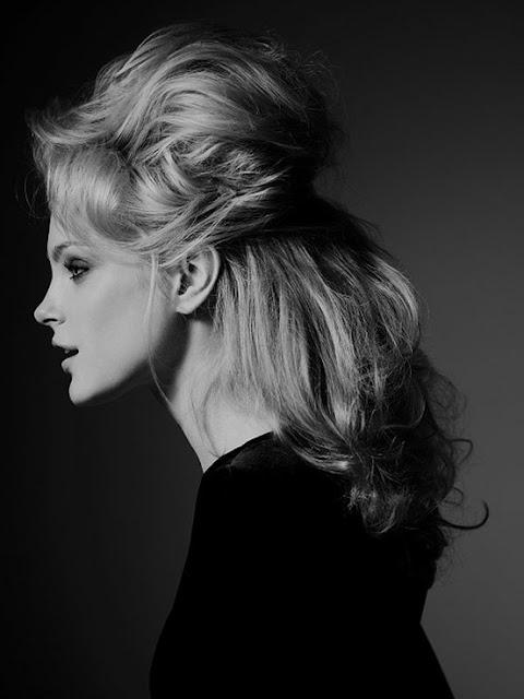 Jessica Stam 1960s style hairdo