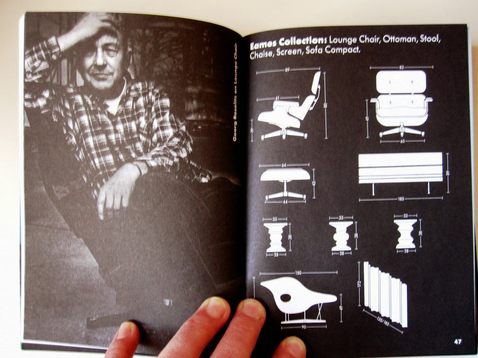 Inside of a vitra catalogue, showing measurements of Eames furniture.