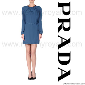 Crown Princess Mary Style PRADA Navy Blue Dress