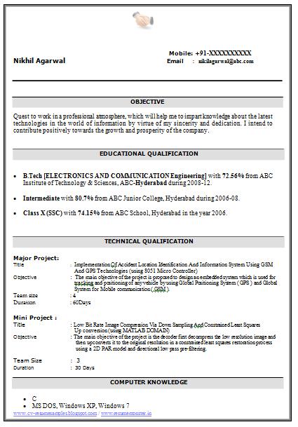 Resume sample for bsc biotech freshers