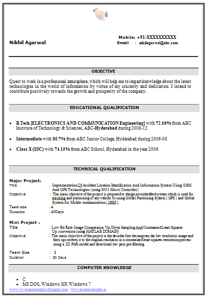 ... CV and Resume Samples with Free Download: B Tech ECE Resume Download