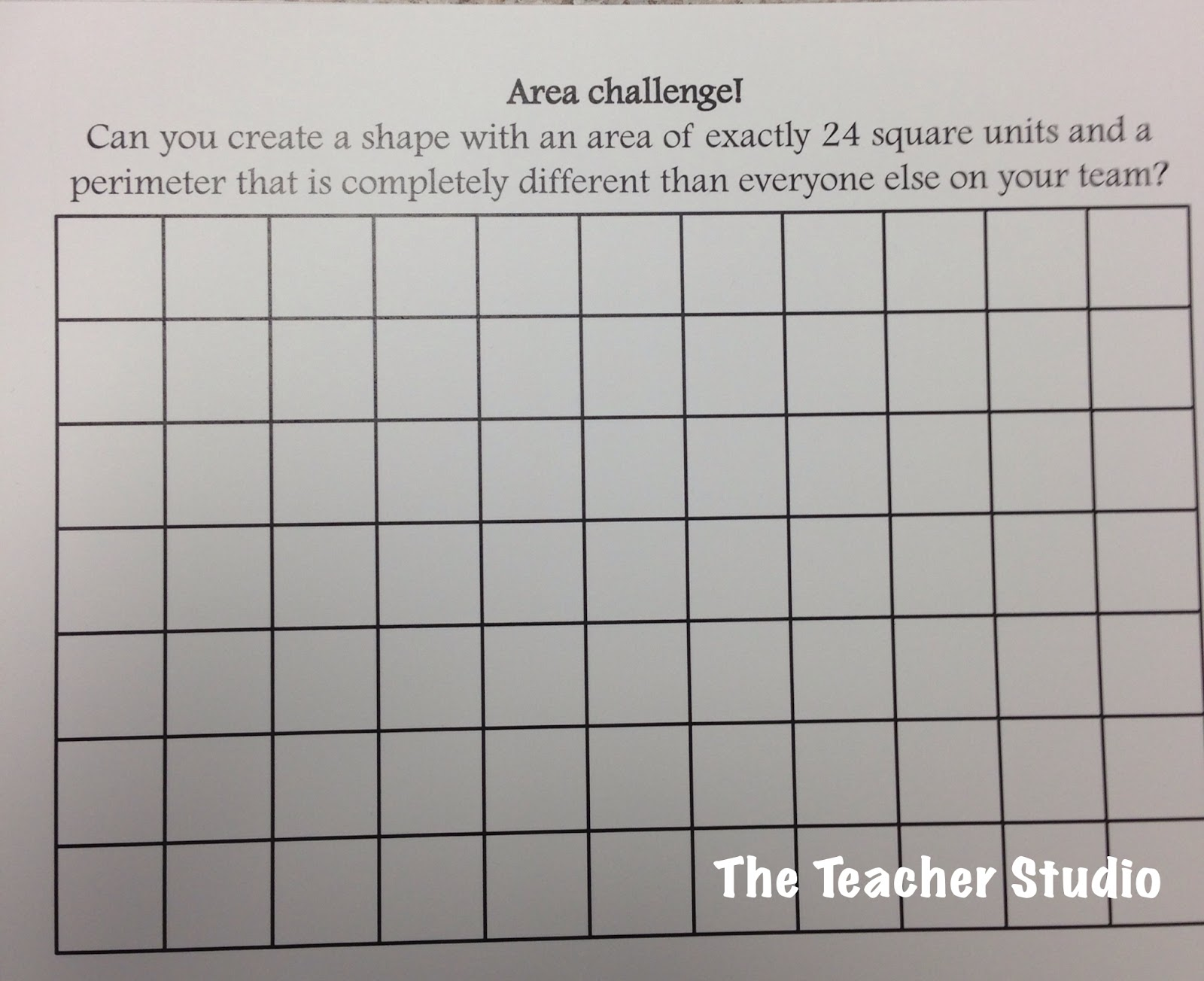 Area And Perimeter Bingo Of 5 Or 6 And Had To Use The Grid Paper To Find A  Shape With