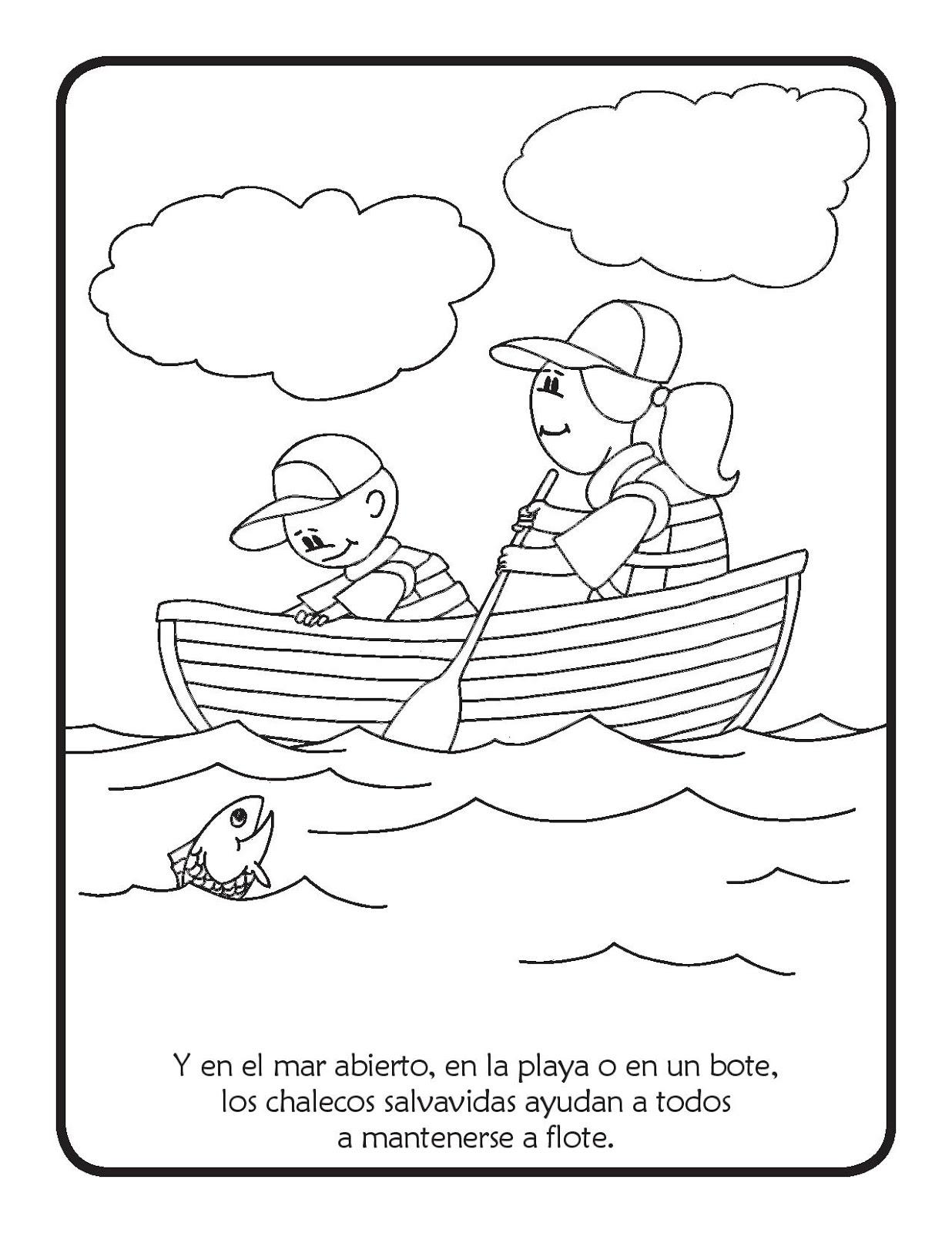 Seguridad al pescar para colorear