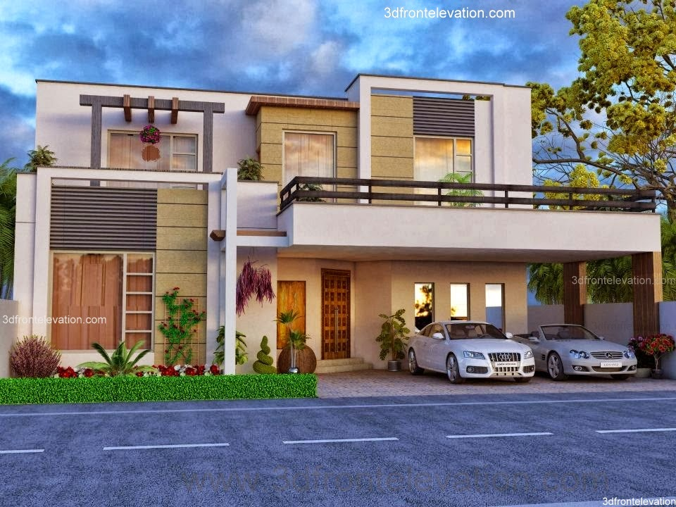 3d front beautiful house modern design for Images of front view of beautiful modern houses