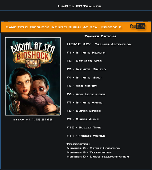 Bioshock Infinite Burial At Sea Episode 2 v1.1.25.5165 Trainer +13 [LinGon]