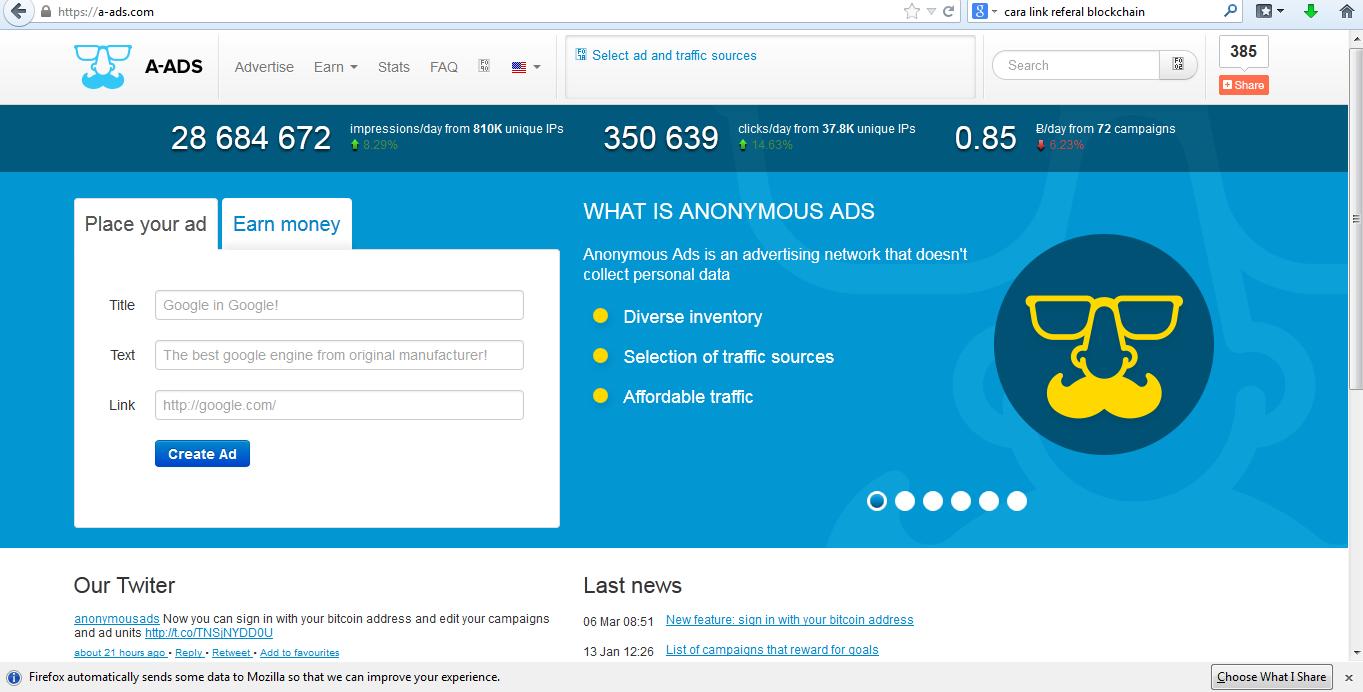 a-ads.com | Program Publisher Iklan dibayar dengan Bitcoin