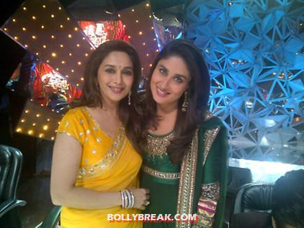 Kareena with madhuri in yellow sari -  Kareena Kapoor promotes Heroine at Jhalak Dikhla Jaa