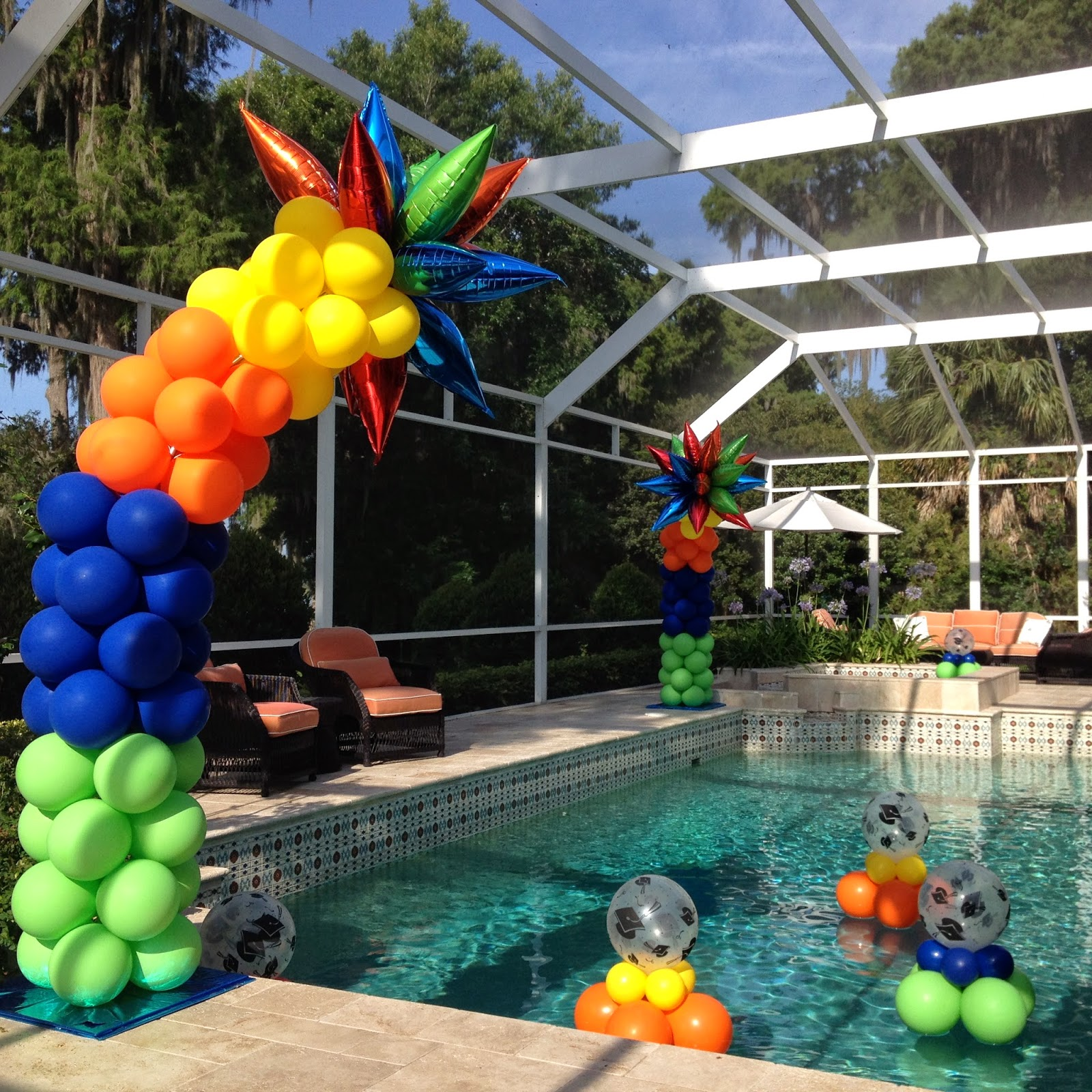 Party People Event Decorating Company Colorful Graduation Pool Party Winter Haven Florida On