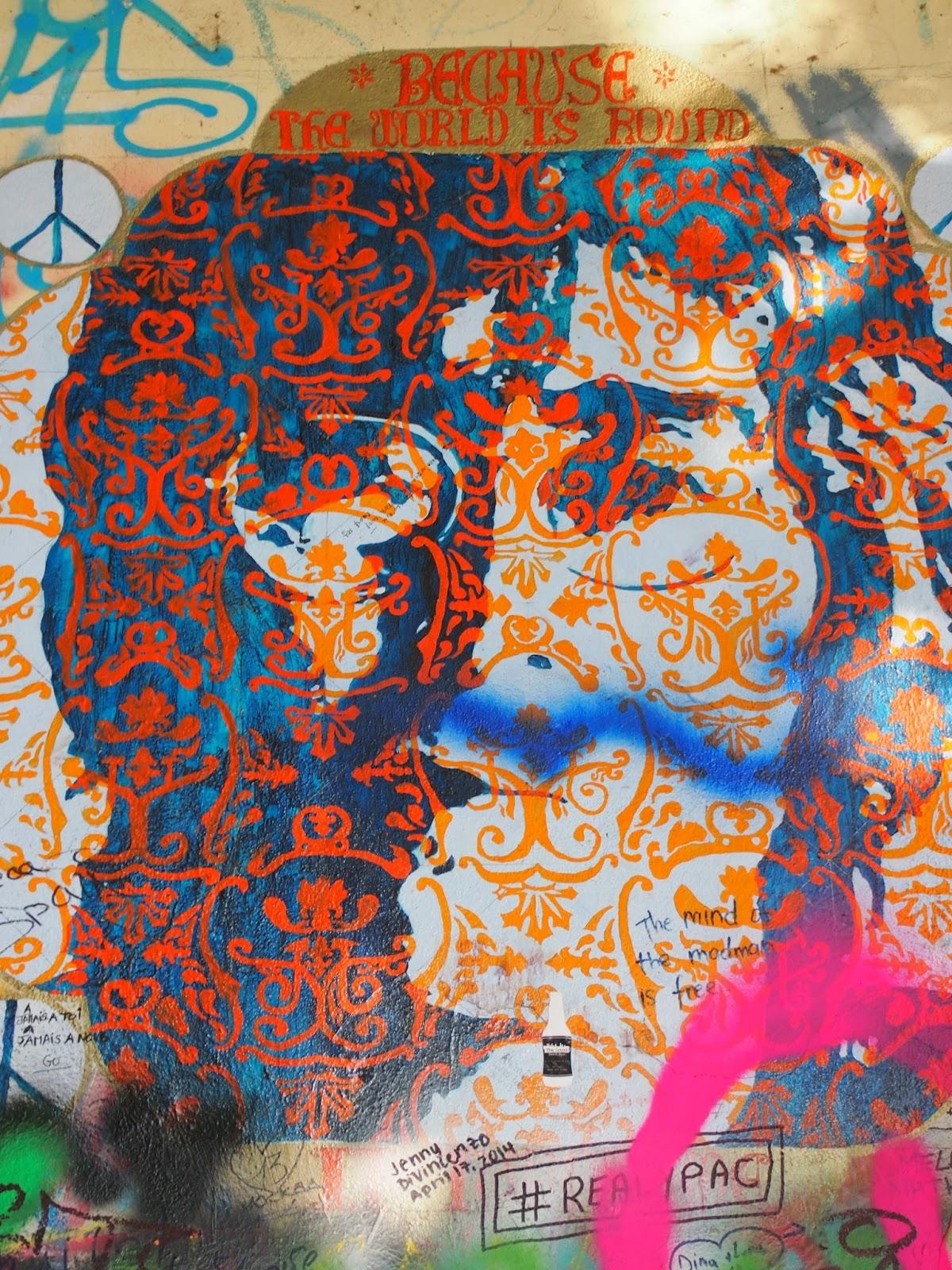 Creative graffiti of John Lennon at the Lennon Wall in Prague