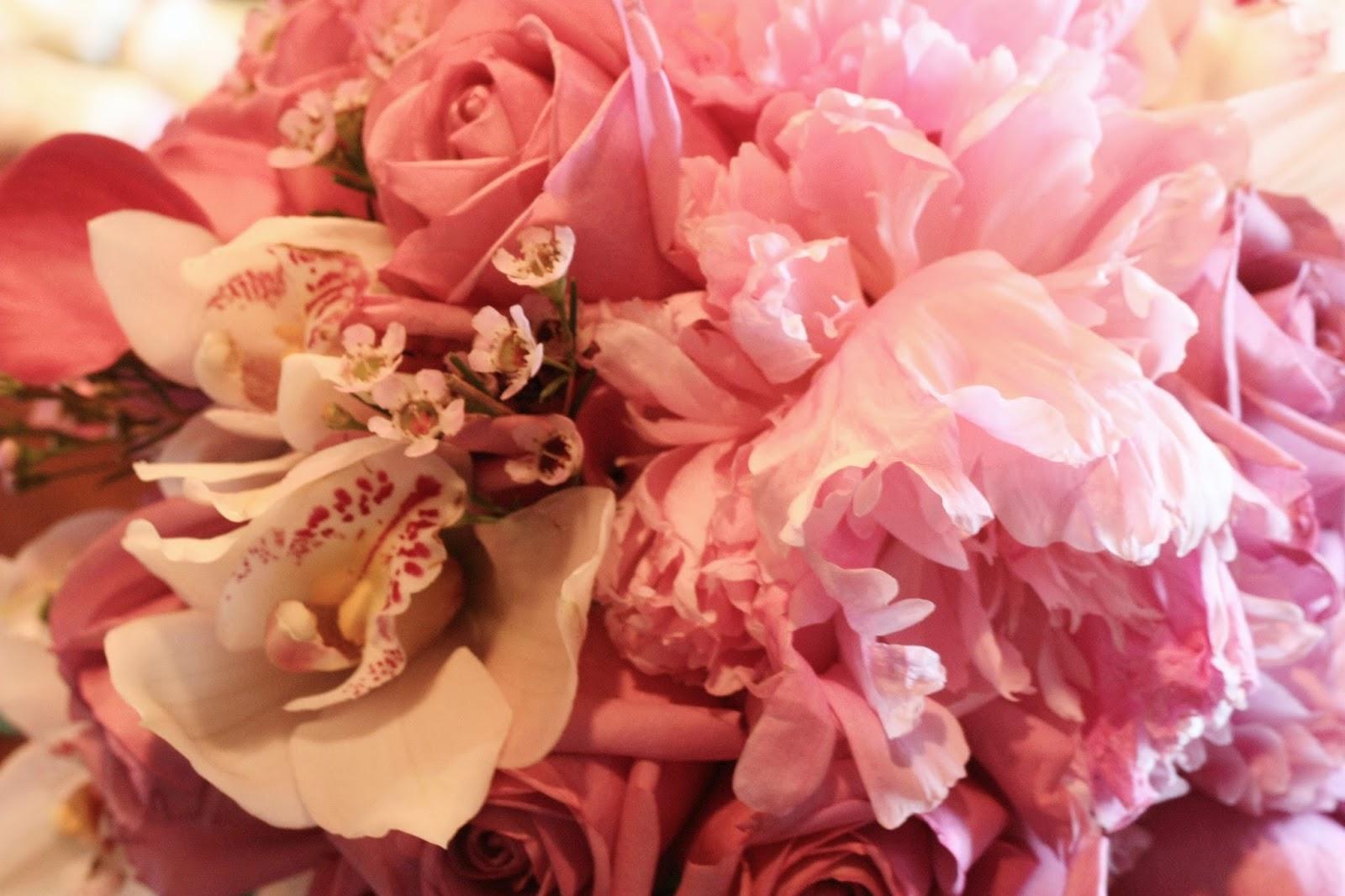 peonies, cymbidium, cool water roses, wax and calla lilies