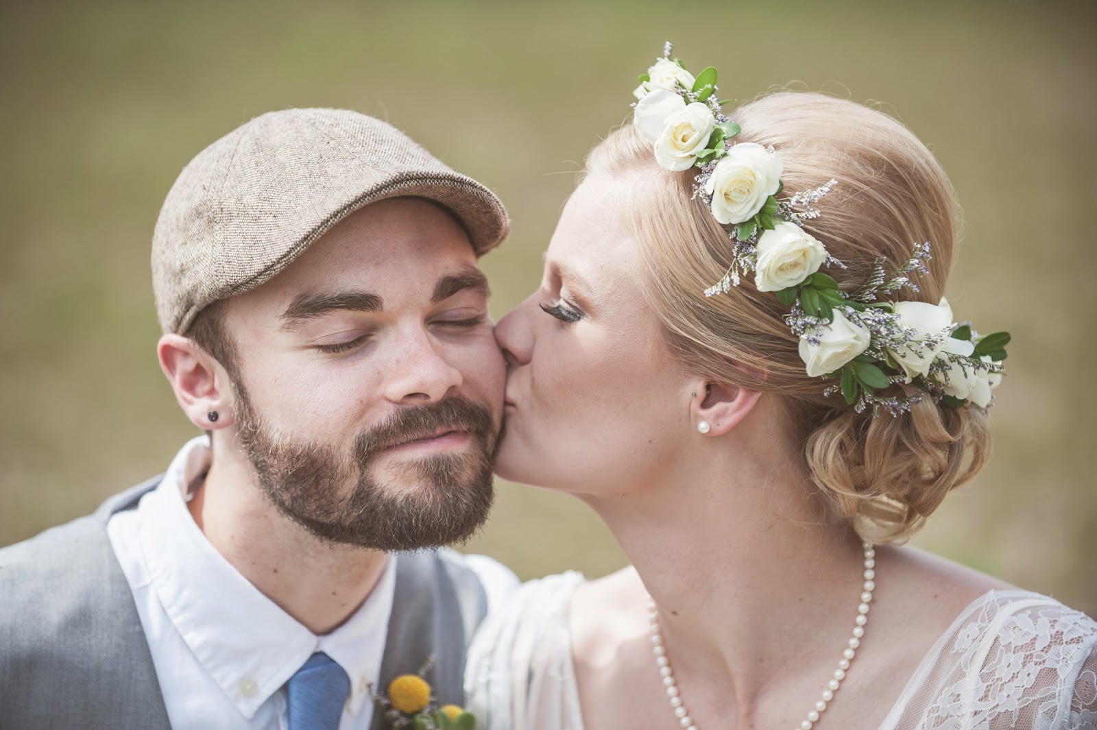 Vintage Bride and Groom with flower crown