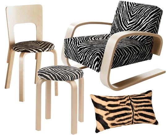 Artek - Alvar Aalto pall e60, stol 66 och Tankstolen i zebratyg. Kudde i riktigt zebraskinn från CanCan | www.var-dags-rum.se