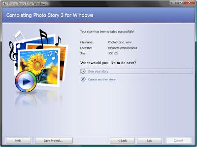 завершение создания видео презентации из фотографий в бесплатной программе Photo Story 3