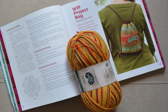 "The book ""Crocheted One-skein Wonders"" is open to the page of the pattern which displays a photograph of the finished item. A skein of multicoloured sock yarn is resting on top, holding the book open."