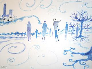 """www.ArtCarlosPardo.com """"Winter in blue"""" """"Invierno en azul"""""""