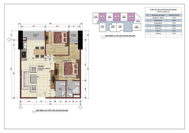 Sơ đồ thiết kế căn hộ 219 Trung Kính