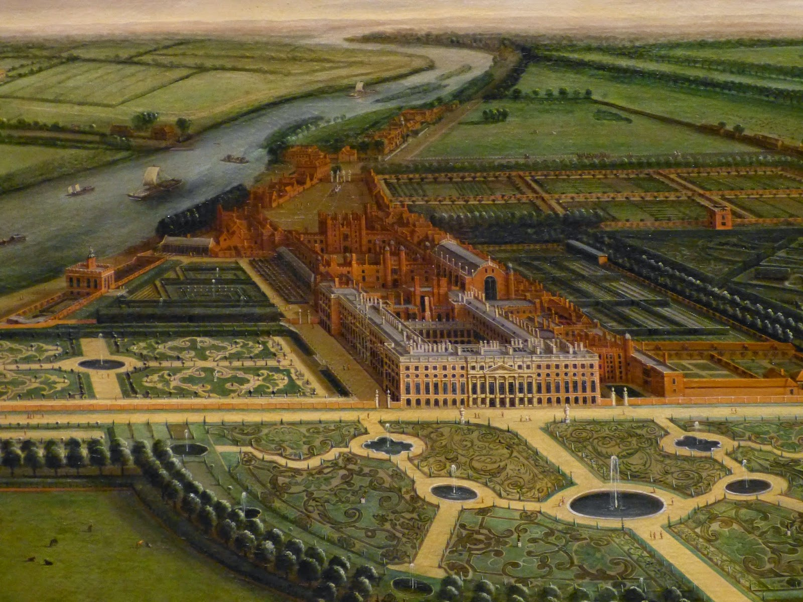 Detail from A View of Hampton Court by Leonard Knyff (c1703)
