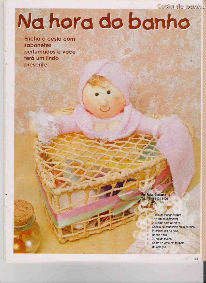 Moldes boneca com roupa de banho