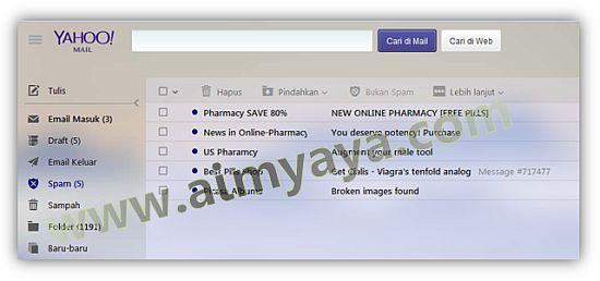 Gambar: Contoh folder SPAM di yahoo mail