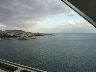 Maiko Beach as seen from the side maintainance walkway under the Akashi Kaikyo Bridge
