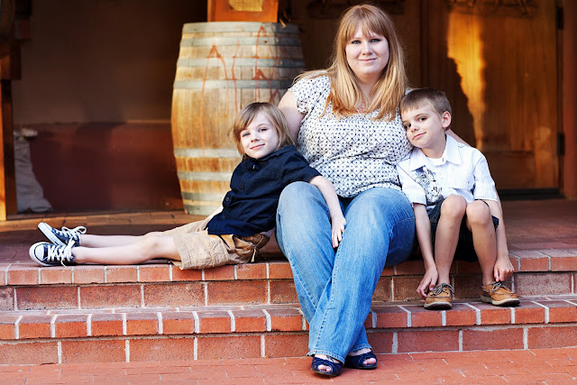 mother with sons in the natural light of Tucson
