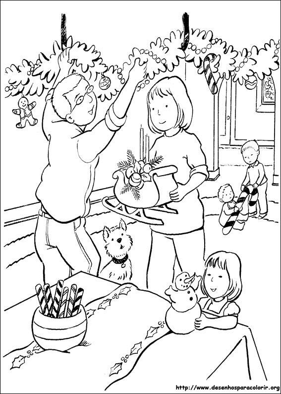 Desenhos Preto e Branco A verdadeira história do Natal  para copiar Colorir