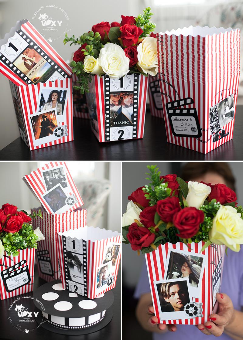 tema cinema, cutii popcorn, cutii aranjamente florale, vixy.ro, evenimente personalizate, papetarie personalizata, cutii personalizate, cinema, tema nunta cinema, cutii filme
