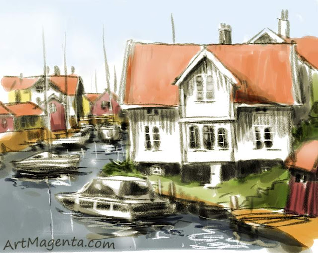 Small houses in a small harbor is a sketch by artist and illustrator Artmagenta