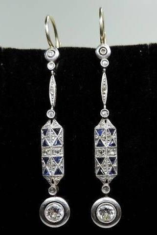 Art Deco Diamond Shire Dangle Earrings
