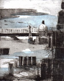 Uschi Krempel: dream of Venice, Radierung, 2014