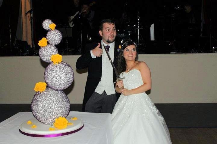 rainbow sugarcraft sphere wedding cakes