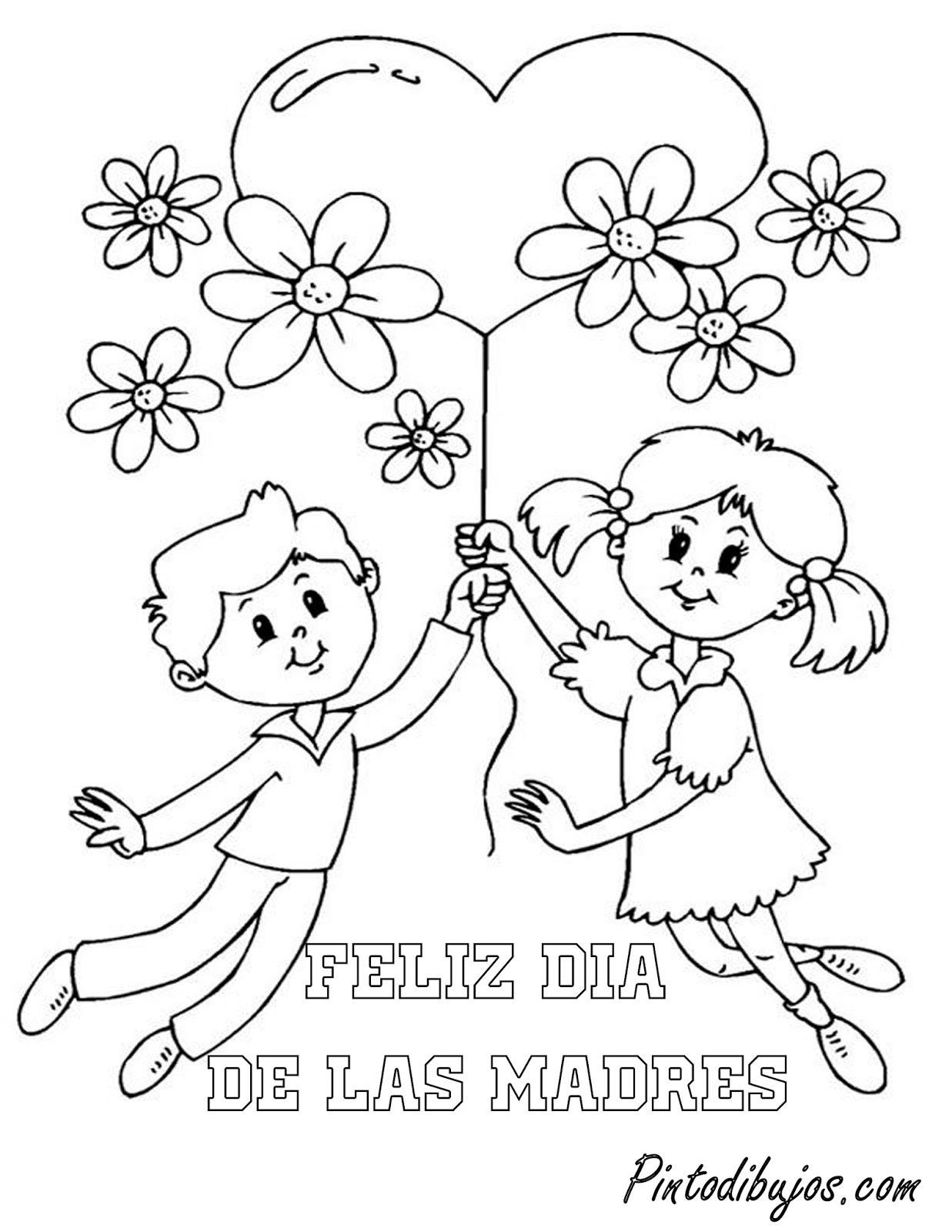 Niños con globos y flores para mamá | Dia de las madres para colorear