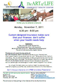 Lecture: Custom-designed insurance plan for Your health needs, by Sun Life Financial, at The Art of Life Health Centre