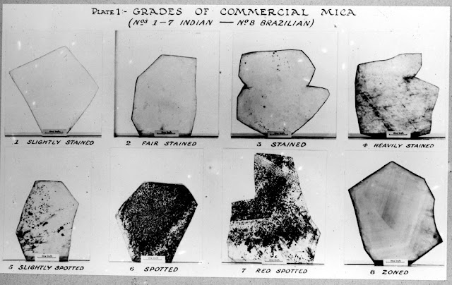 Processing of Scottish mica. Pitlochry Depot (January 1945). Perthshire. Plates of mica illustrating the various commercial grades.