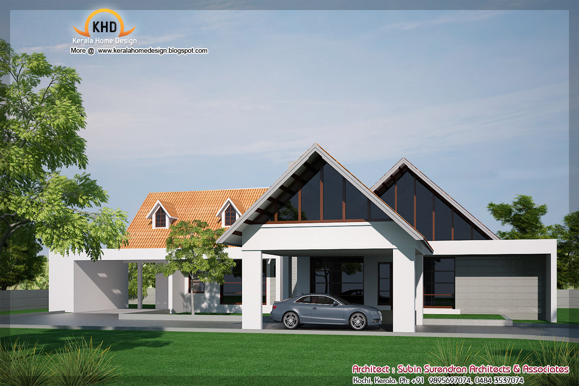 Single floor house elevation 2900 sq ft kerala home for Single floor house elevation designs