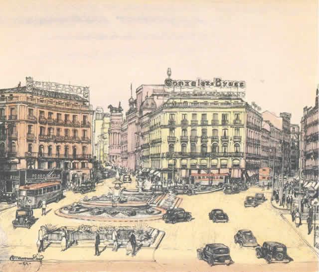 Dibujo antiguo de la Puerta del Sol