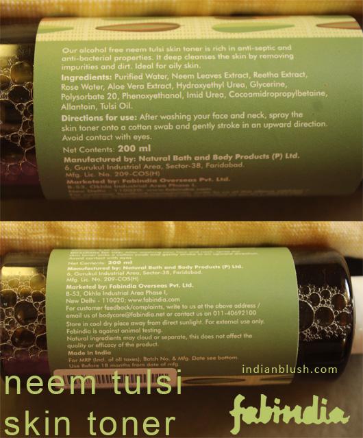 FabIndia Neem Tulsi Skin Toner Review Skin Toner for Oily Skin