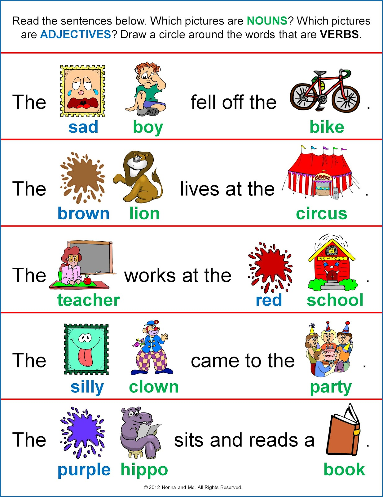 worksheet Parts Of A Sentence Worksheet nonna and me parts of speech practice practice