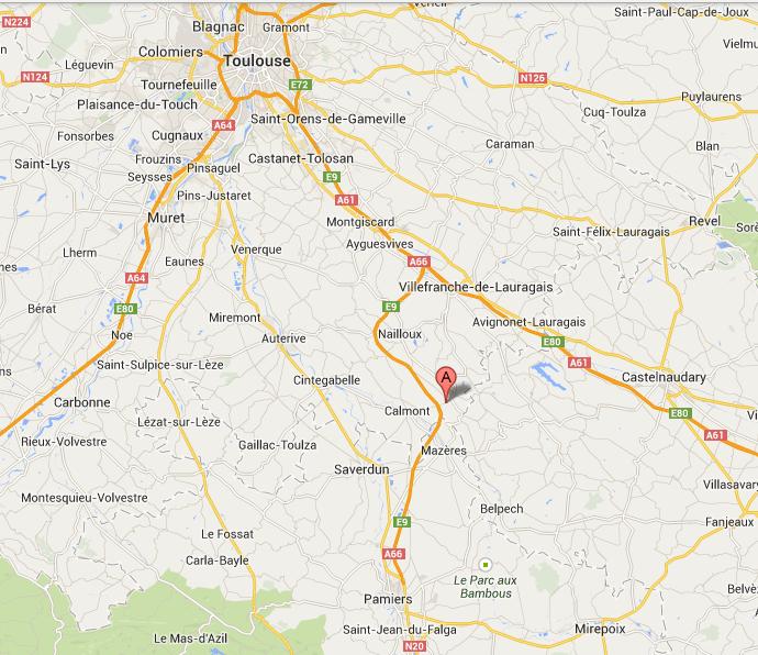 plan de situation de GIBEL, à 45 Km de Toulouse