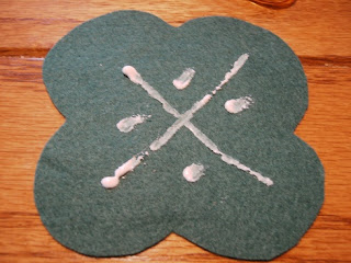 Pink Calico: Green Felt, Glued