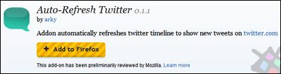Firefox auto tweet update addon