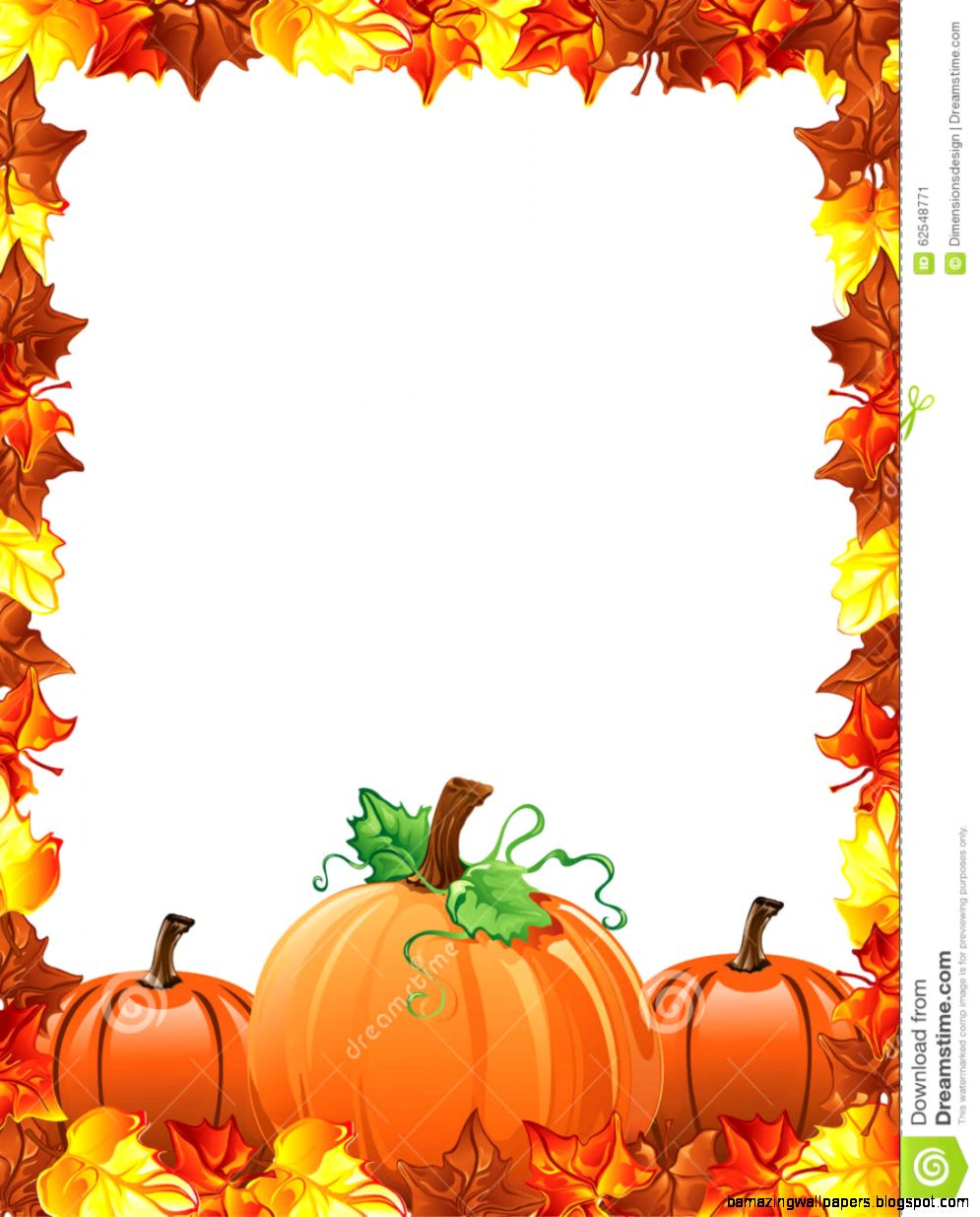 Fall Leaves And Pumpkins Border Stock Vector   Image 62548771