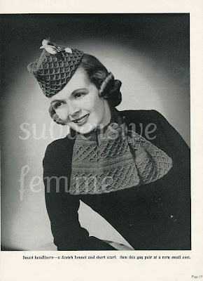 1930's Crochet Hat and scarf set Glengary