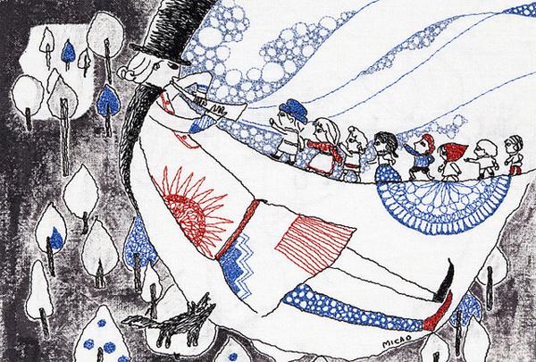 εικονογράφηση παραμυθιών γκριμ, τα παραμύθια των αδερφών γκριμ, εικονογράφηση, κέντημα