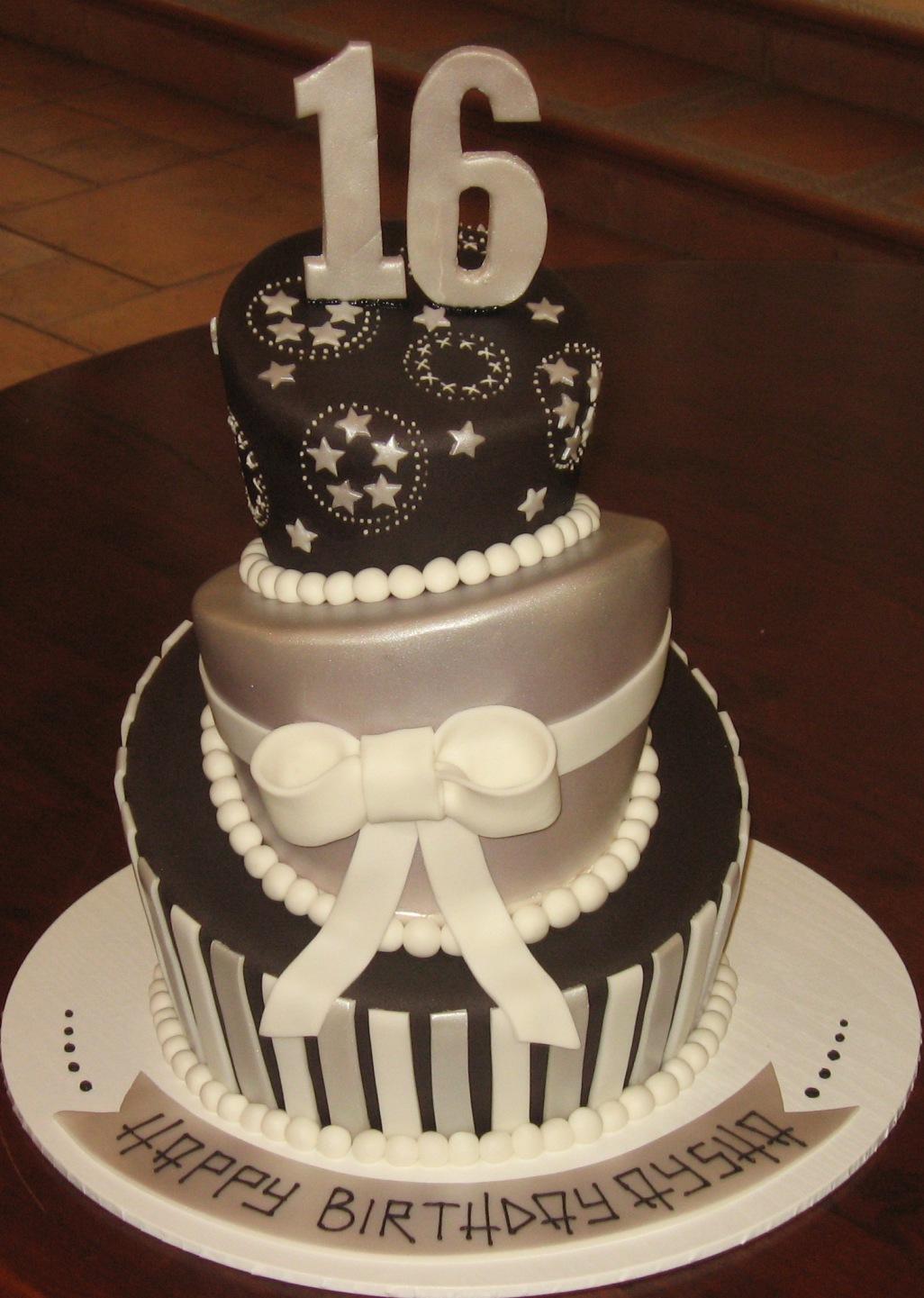 Let Them Eat Cake Black Silver 16th Birthday cake