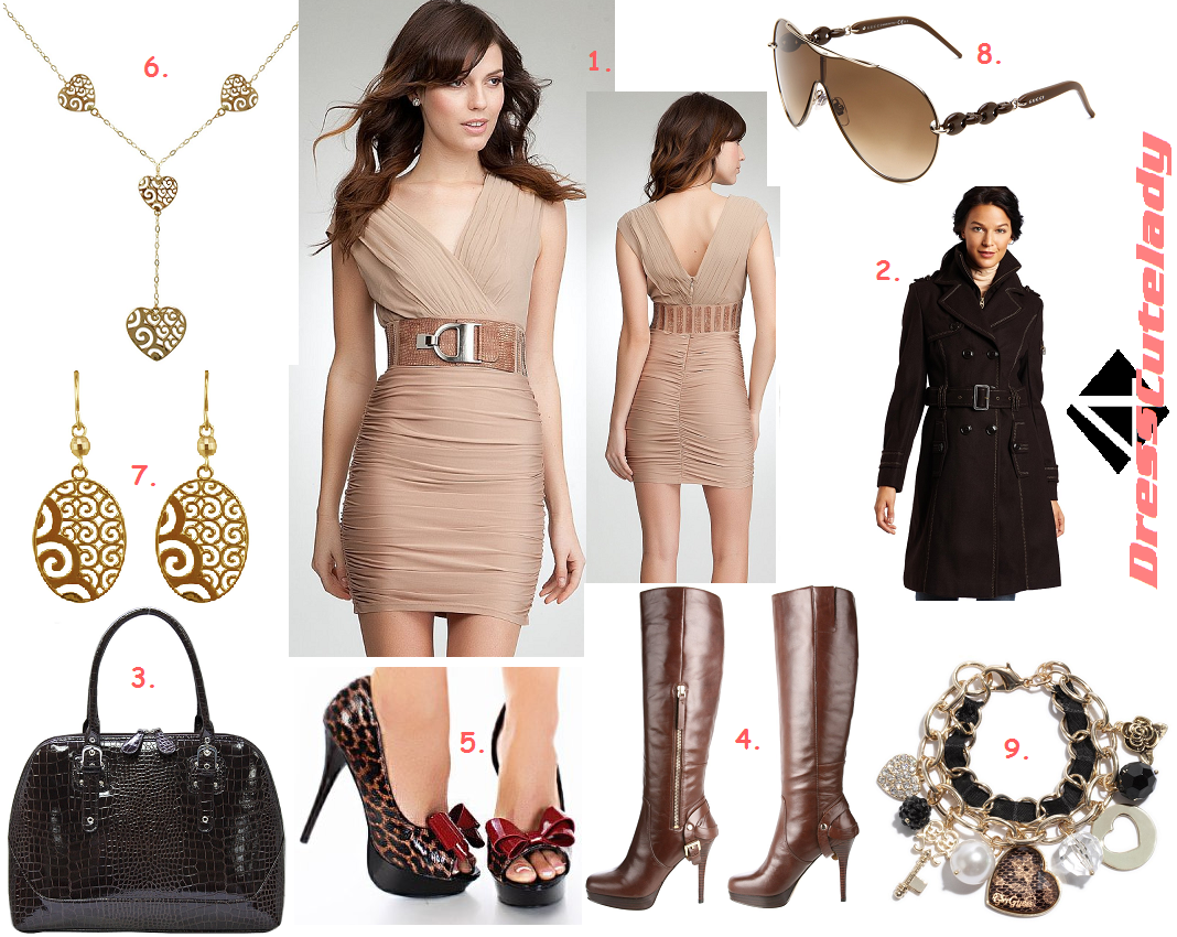 Dress4Cutelady: Natural color dress with Chocolate Brown accessories ...