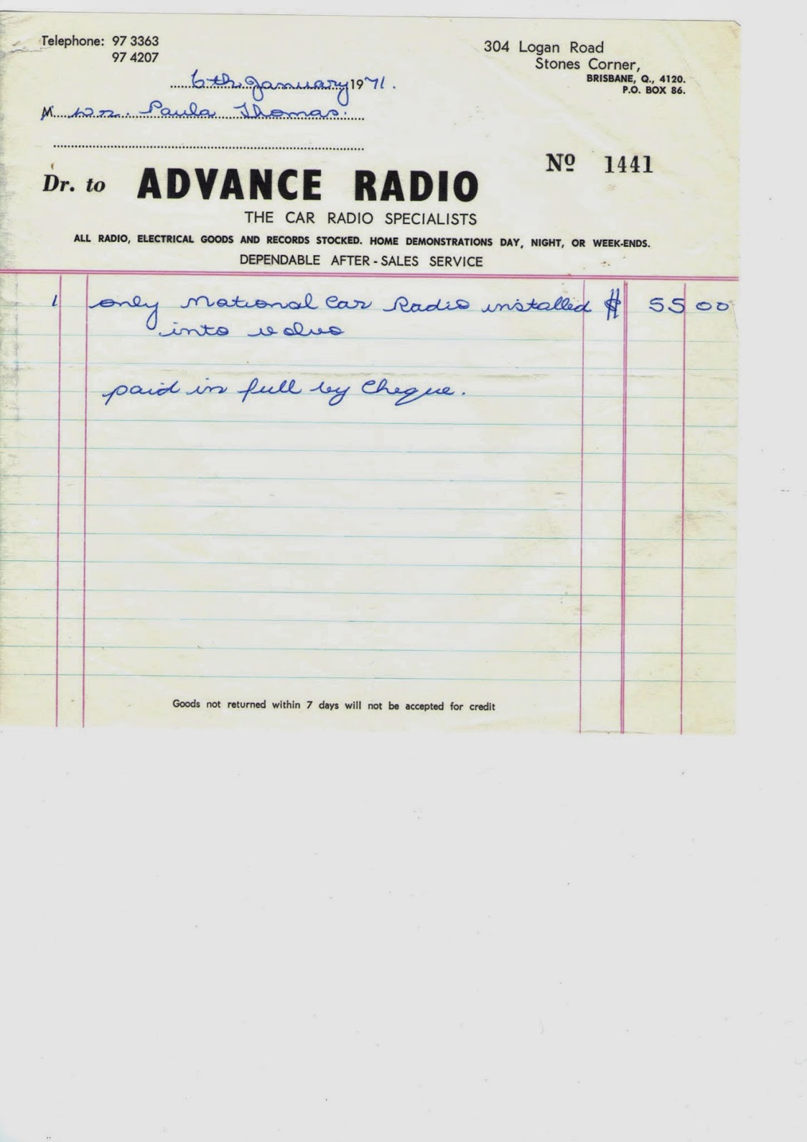 Invoice 1971 National Car Radio Volvo Amazon