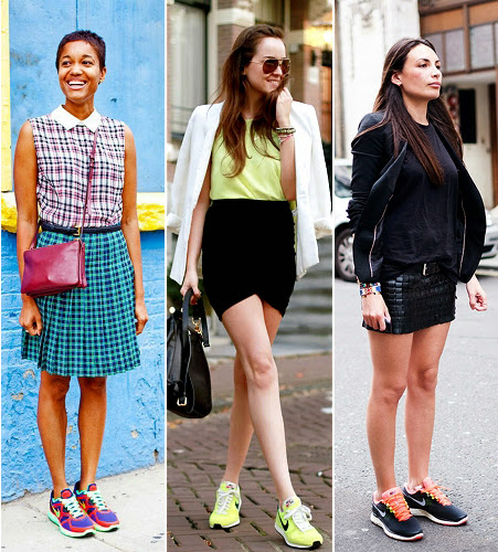 Street Style bloggers and fashion junkies wearing runner sneakers